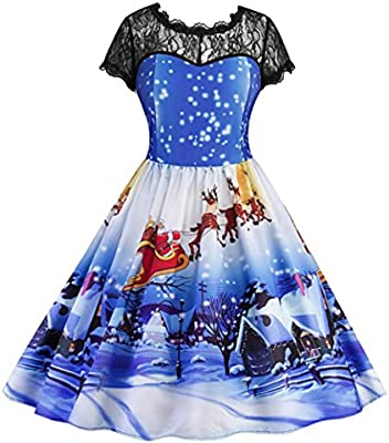 Women Dress Christmas Daoroka Women s Vintage Ball Gown Christmas Xmas  Santa Snowman Fancy Lace Party O 8d151a2c5b2a