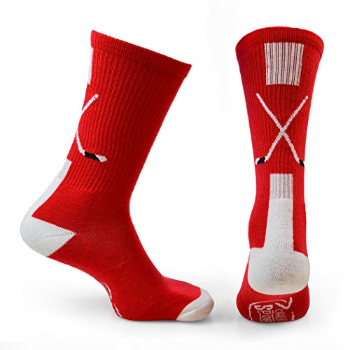 ChalkTalkSPORTS Hockey Half Cushioned Crew Socks | Crossed Sticks | Red/White