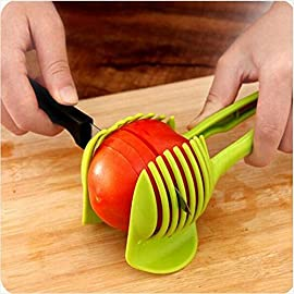 Best Utensils Tomato Slicer Lemon Cutter Multipurpose Handheld Round Fruit Tongs ABS Plastic Onion Holder Easy Slicing Fruits & Vegetable Tools Kitchen Cutting Aid Gadgets Tool 59 MADE IN CHINA: Unique design makes slicing fruits and vegetables more quickly and easily MULTI-PURPOSE: Conveniently designed slicing aid, perfect tool for any task in the kitchen, ideal for tomatoes, onions, lemon, citrus fruit & more! DURABLE & SAFETY: Made of 100% food grade Material, eco-friendly, durable in use. Clamp design, multifunctional, also couble be used as food tongs.