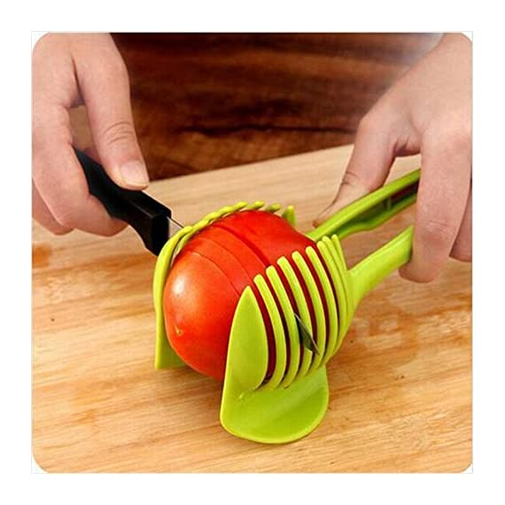 Best Utensils Tomato Slicer Lemon Cutter Multipurpose Handheld Round Fruit Tongs ABS Plastic Onion Holder Easy Slicing Fruits & Vegetable Tools Kitchen Cutting Aid Gadgets Tool 1 MADE IN CHINA: Unique design makes slicing fruits and vegetables more quickly and easily MULTI-PURPOSE: Conveniently designed slicing aid, perfect tool for any task in the kitchen, ideal for tomatoes, onions, lemon, citrus fruit & more! DURABLE & SAFETY: Made of 100% food grade Material, eco-friendly, durable in use. Clamp design, multifunctional, also couble be used as food tongs.
