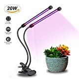 20W Dual Head Timing Grow Light, Brionac 40 LED 9 Dimming Levels Grow Lamp for Indoor Plants with 3/9/12H Timer, Red/Blue Spectrum and Adjustable Gooseneck