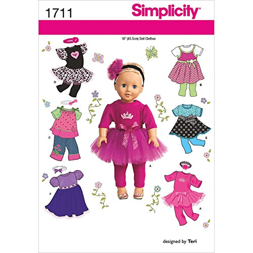 Simplicity 1711 18-Inch Doll Clothes Sewing Pattern, Size...