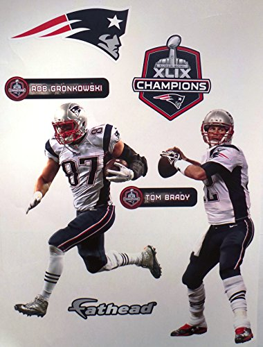 - FATHEAD Tom Brady and Rob Gronkowski Mini Super Bowl Champs New England Patriots Logo Set Official NFL Vinyl Wall Graphics 10