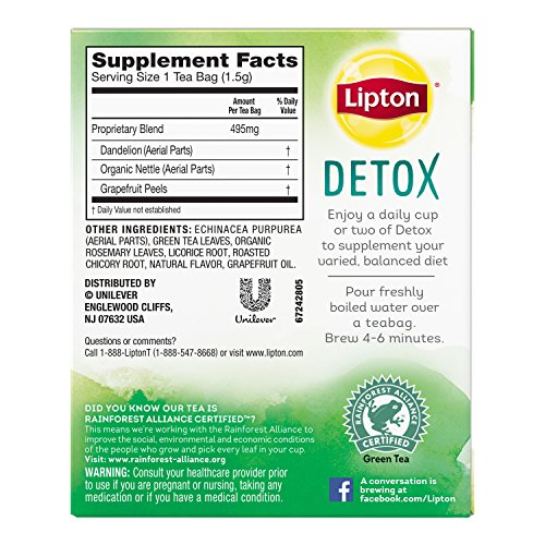Lipton Herbal Supplement with Green Tea, Detox 15 ct, Pack of 4 by Lipton (Image #5)