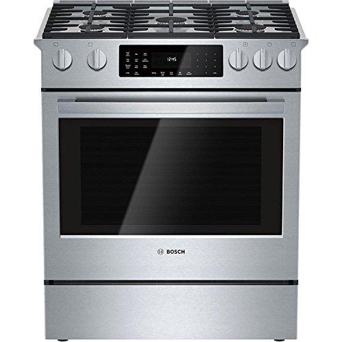 Bosch HDI8054U 800 30″ Stainless Steel Dual Fuel (Gas) Slide-In Sealed Burner Range – Convection