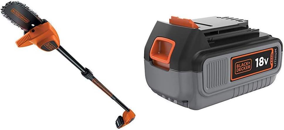 BLACK+DECKER GPC1820L20-QW - Motosierra telescópica (pértiga) a batería 18V, 2Ah, espada 20 cm + Black+Decker BL4018-XJ - Litio 18V / 4.0Ah