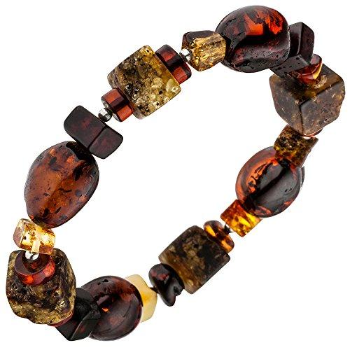 Jobo Ambre Bracelet Ambre avec entre les pièces en argent 925Bracelet multicolore