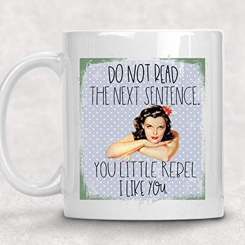 Do not Read the Next Sentence, You Little Rebel Vintage Pin-up Girl Adult Mug Best Friend Gift for Her (All The Cuss Words In One Sentence)