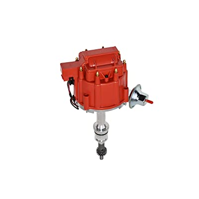 A-Team Performance Complete HEI Distributor 65,000 Coil Auto Parts Replcament Compatible with SBF Small Block Ford 260 289 302 5.0 One Wire Installation Red Cap: Automotive