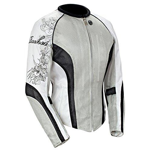 (Joe Rocket Cleo 2.2 Women's Mesh Motorcycle Riding Jacket (Silver/Black/White, X-Large) )