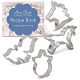 Unicorn Cookie Cutters Set with Recipe Book - 4 piece - Unicorn, Cute Unicorn, Unicorn Head & Face - Ann Clark - US Tin Plated Steel