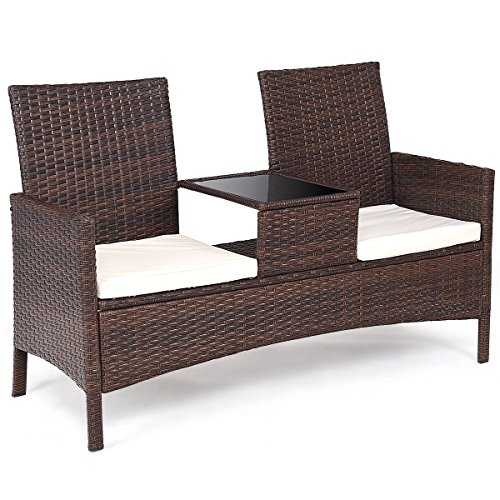 oldzon Patio Rattan Chat Set Seat Sofa Loveseat Table Chairs Conversation Cushioned with Ebook ()