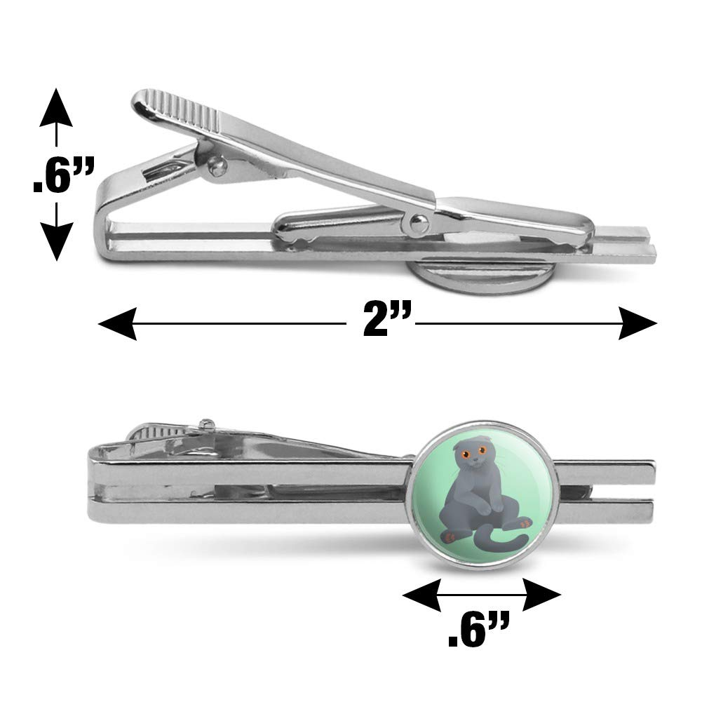GRAPHICS /& MORE Scottish Fold Cat Round Tie Bar Clip Clasp Tack Silver Color Plated
