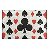 Florence Cool Poker Cards Pattern Clubs Area Rug Non-Slip Doormats Carpet Floor Mat for Living Room Bedroom 60 x 39 inches