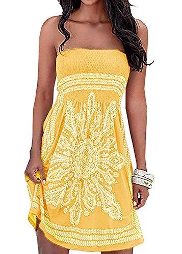 Chicgal Women's Beach Dress Bohemian Strapless Floral Print Cover Up Dresses(Yellow 2XL) (Bohemian Sundress Dress)