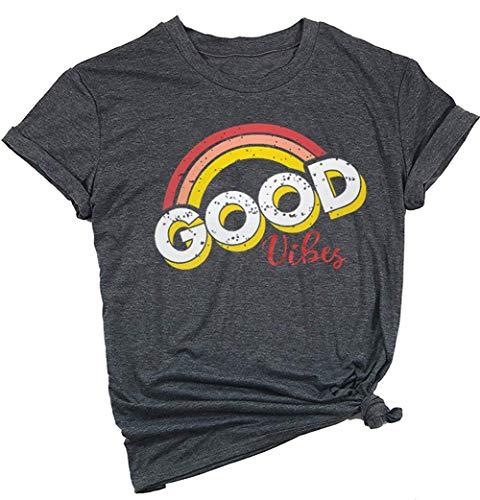 YEXIPO Womens Graphic Tees Good Vibes Shirt Short Sleeve Funny T Shirts Rainbow Print Cute Summer Tops (X-Large, 2-Dark Grey)