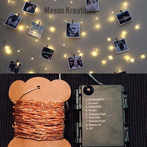 (Mason Fairy Lights Rose Gold Wire - Battery Operated 100 LED warm white decorative mini bulbs for bedroom, outdoor, indoor and bedroom string decor)