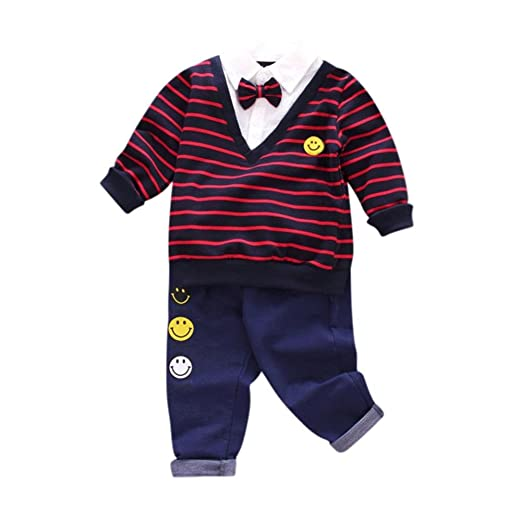 cf45db7d19a5 Amazon.com  FORESTIME 2Pcs Infant Toddler Baby Boys Stripe Bow Tops+ ...