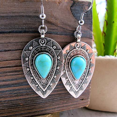 (Boho Earrings-Boho Turquoise and Silver Dangle Earrings- Stainless Steel Earring Hooks-Bohemian Drop Earrings)