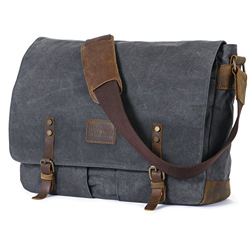 Lifewit 15.6 Inch Waxed Canvas Laptop Messenger Trim Leather Water Resistant Satchel Bags (Grey)