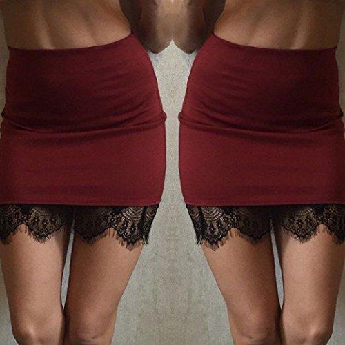 Moulante Jupe Haute Taille Stretch Dress URSING Robe Crayon Hip Sexy Mini Jupe Jupe Ceinture Rouge Dentelle sac Jupe Dentelle de Elastique Mini en Couture Courtes Ladies Hem Femmes Jupes xqqt0CIP