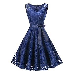Misvogue Homecoming Dress Floral Lace Dress V Neck Bridesmaid Dress Short Prom Dress for Women