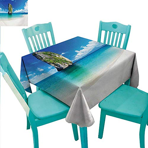 (Island Elegance Engineered Christmas Tablecloth Big Tall Poda Cliff Rock in the Sea in Asian Coastline Exotic Vacation Scene for Kitchen Dinning Tabletop Decoration 60