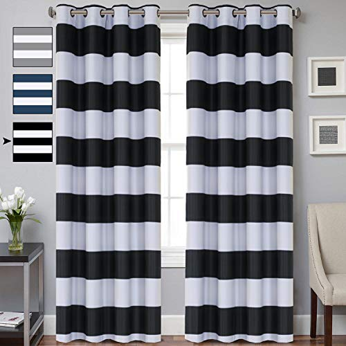 Striped Curtain Room Darkening Grommet Unlined Window Curtains, Set Two Panels Thermal Insulated Blackout Window Treatment Set of 2 Living Room Curtain, 52 x 84 - Inch
