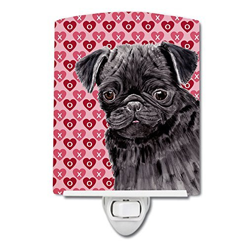 Caroline's Treasures Pug Black Hearts Love Valentine's Day Night Light, 6'' x 4'', Multicolor