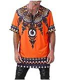 VITryst Mens V Neck Baggy 1/2 Long Sleeve African Printed T-Shirt Tops Orange M