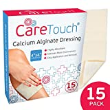 Care Touch Calcium Alginate Wound Dressing, 4x4'' Individually Wrapped Sterile Gauzes - 15 Pack