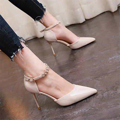 YMFIE Primavera Europea y Fina de Verano con Charol Puntiagudo Sexy Tacones Altos Boca Baja Rhinestone Moda Temperamento Solo Zapatos de Las señoras Zapatos de Trabajo B