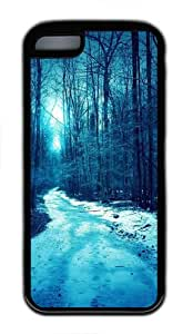 Winter Trees Roads TPU Silicone Rubber Case Cover for iPhone 5C - Black