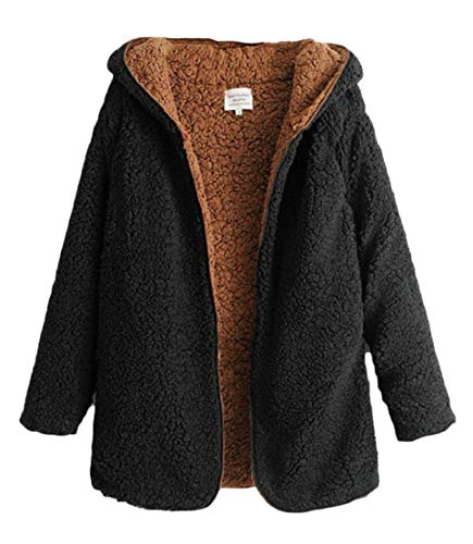 Jacket Down Warm Parka Coat TTYLLMAO Winter Women Thicken Black Buttons No Hooded Fleece vxB4Uxq