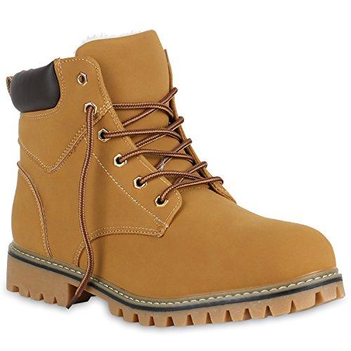 Stiefelparadies Gefütterte Herren Worker Boots Outdoor Schuhe Schnürstiefel Flandell Hellbraun Bernice