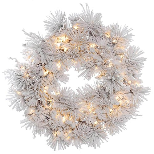 Vickerman A155337 Wreath with 15 Pine Cones, 150 Flocked White on Green PVC Tips & 100 Dura-lit Lights on Green Wire, 36