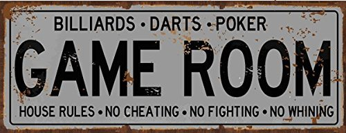 Game Room House Rules Metal Street Sign, Billiards, Poker, D