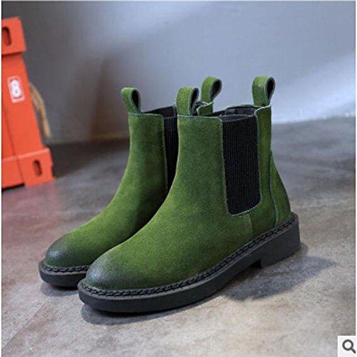 ZHZNVX HSXZ Zapatos de Mujer Otoño Invierno PU Confort Botas de Tacón Chunky Round Toe Botines/Botines de Camello Ocasional Ejército Verde Gris Negro,ejército,Verde US7.5/UE38/UK5.5/CN38 Army Green