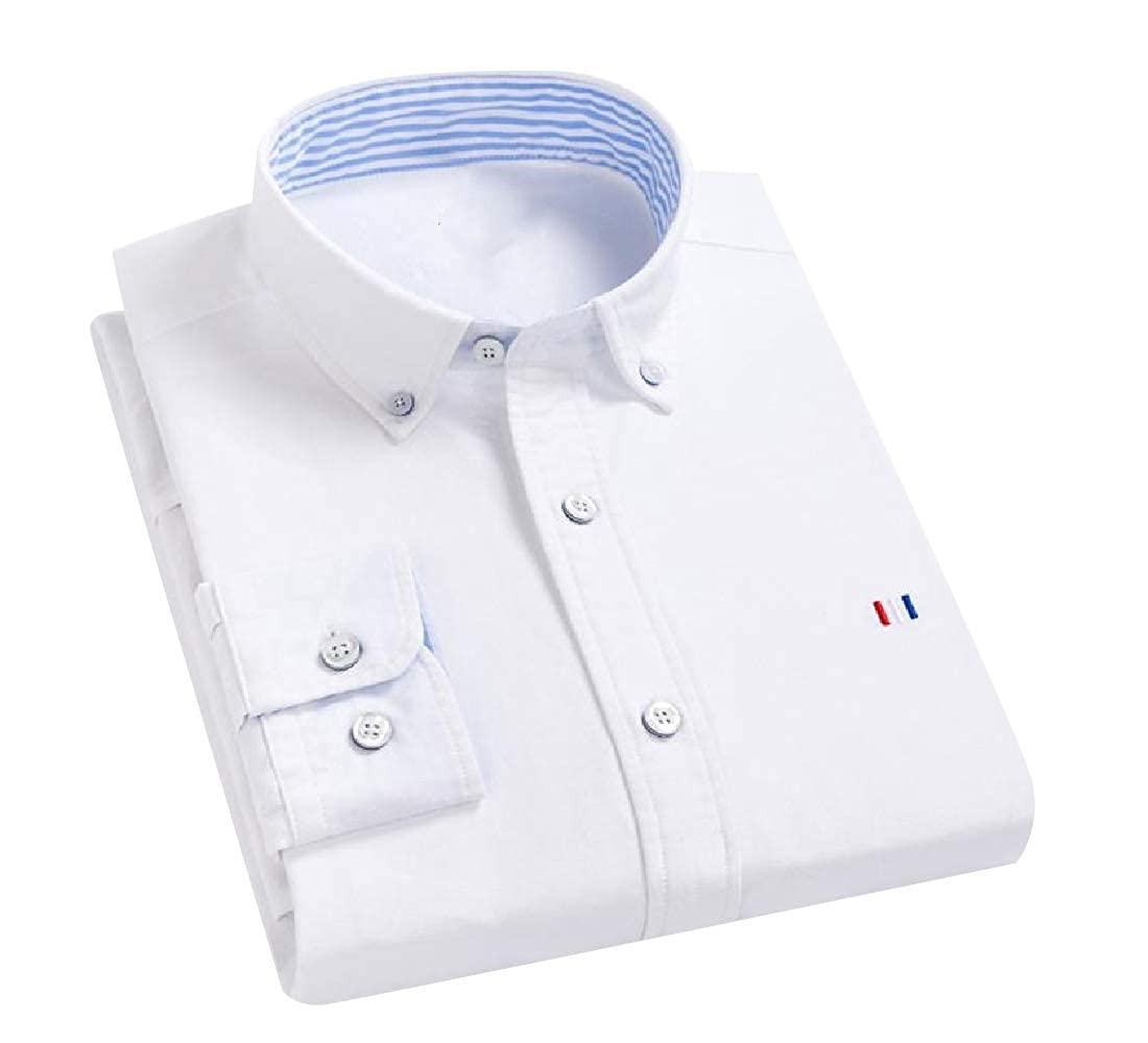 YUNY Men Fit Regular-Fit Non-Iron Single Breasted Shirt White 2XL