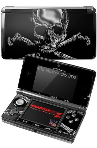 Nintendo 3DS Decal Style Skin - Chrome Skull on Black