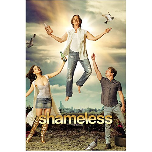 William H. Macy 8 inch x 10 inch PHOTOGRAPH Shameless (TV Series 2011 - ) Floating Between Emmy Rossum & Jeremy Allen White Title Poster - H Macys