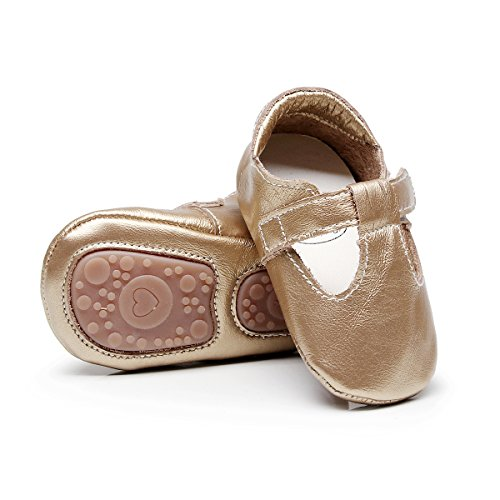 HONGTEYA Baby Boys Girls Fox Mary Jane Sandals Moccasins Shoes Rubber Sole Crib Toddler Leather Walking Prewalker (18-24 Months/US 7.5/5.71'' / See Size Chart, Gold)