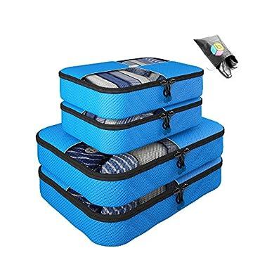 Packing Cubes - 5 pc Value Set Luggage Organizer - 2 Large & 2 Medium + Bonus Shoe Bag Included - Lifetime Guarantee - By Bingonia Travel Accessories (Blue)