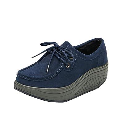 Huatime Mocasines Cuero Gamuza Plataforma Mujer - Moda Casual Zapatos Deporte Aptitud Tacón de cuña Atlético Comodidad: Amazon.es: Zapatos y complementos