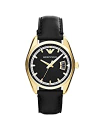 Armani AR6018 39mm Stainless Steel Case Black Leather Mineral Men's Watch