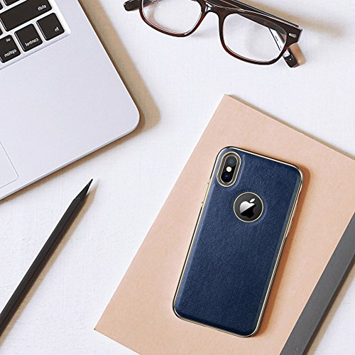 iPhone X Case, LOHASIC [Premium Leather] Slim & Thin Soft Flexible Body Luxury [Gold Electroplated] Bumper Anti-Slip Grip Scratch Resistant Protective Cover Cases for Apple iPhone X 10 - [Navy Blue] Photo #2
