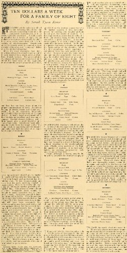 1897 Article 10 Per Week For Family of 8 Sarah Tyson Rorer Menu Meal Budget  Original Print Article