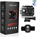 Btime B100Pro 4K Waterproof Action Sports Camera Touchscreen Voice Control Wi-Fi 2.4G Remote Control Support External GPS Logger 170 Degree Wide View Angle