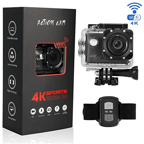 Btime B100Pro 4K Waterproof Action Sports Camera Touchscreen Voice Control with Wi-Fi and 2.4G Remote Control Support External GPS Logger 170 Degree Wide View Angle Action Cameras BTIME