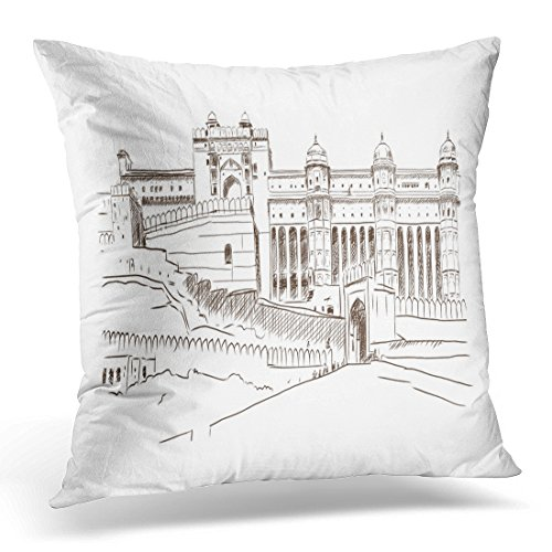 UPOOS Throw Pillow Cover Black Rajasthan Hand Drawn Sketch Landmark of Amber Fort Jaipur India Blue Mughal Amer Decorative Pillow Case Home Decor Square 18x18 Inches - Throw Mughal